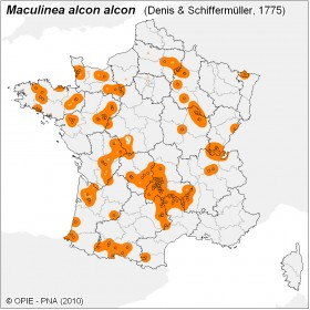 Plan National Actions Maculinea | carte de repartition de alcon alcon