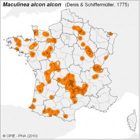 Plan National Actions Maculinea | carte de repartition de alcon alcon