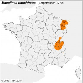 Plan National Actions Maculinea | carte de repartition de nausithous